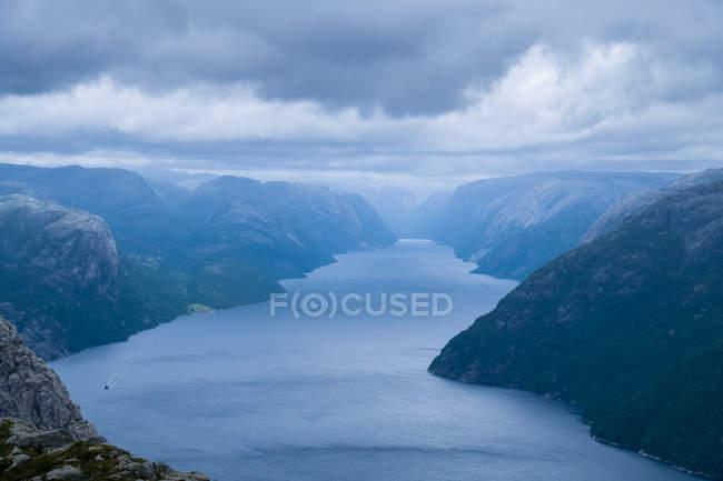Veduta aerea del paesaggio Preikestolen, Lysefjorden, Norvegia — Foto stock