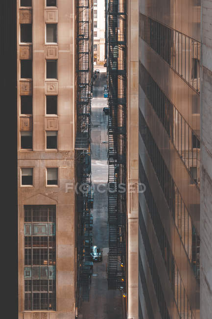 Close-up of Fire escapes between two skyscrapers, Chicago, Illinois, United States — стокове фото