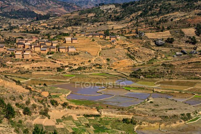 Landschaftliche Aussicht auf die ländliche Landschaft, Ambohimahasoa, Haute Matsiatra Region, Madagaskar — Stockfoto