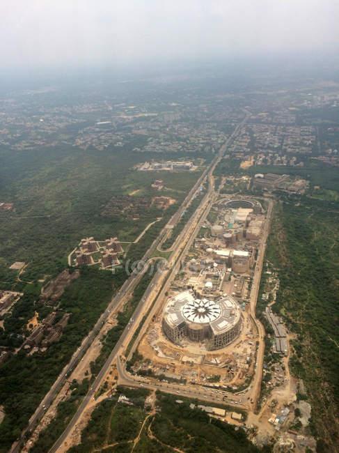 Vista aérea da paisagem urbana de Nova Deli, Índia — Fotografia de Stock