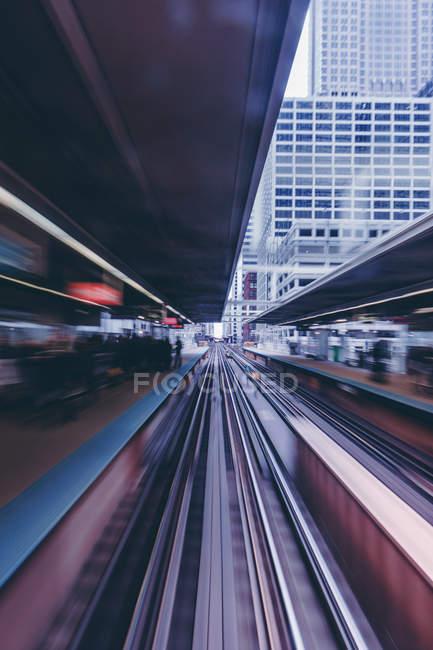 Залізничні колії на залізничному вокзалі, Чикаго, Іллінойс, США — стокове фото