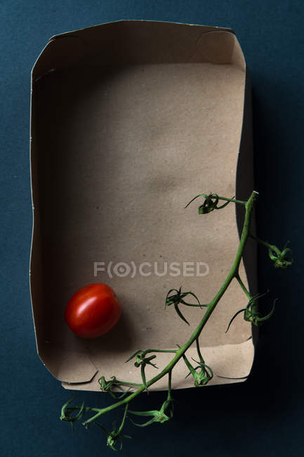 Cherry tomato and a vine in a box, top view — Stock Photo