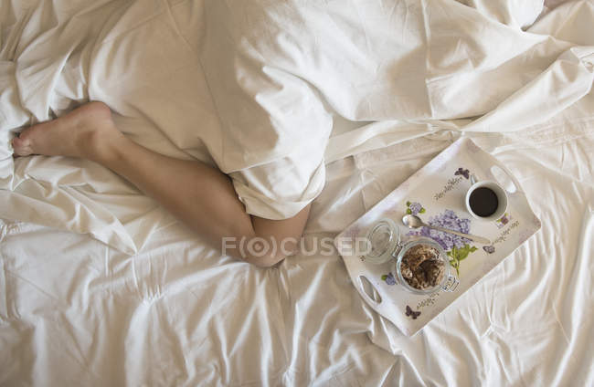 Frühstück Tablett neben einer Frau im Bett, erhöhte Aussicht — Stockfoto