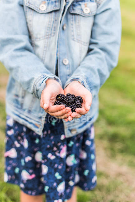 Girl standing in a garden holding freshly picked blackberries — Stock Photo
