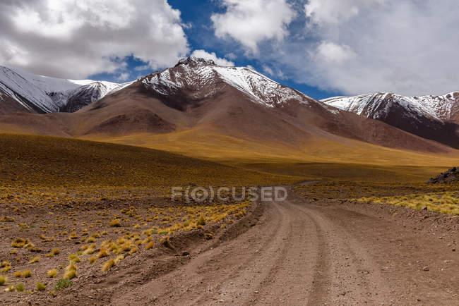 Живописный вид на роуд через горный ландшафт к лагуне Лейла, Сокер, Эль-Лоа, Антофагаста, Чили — стоковое фото