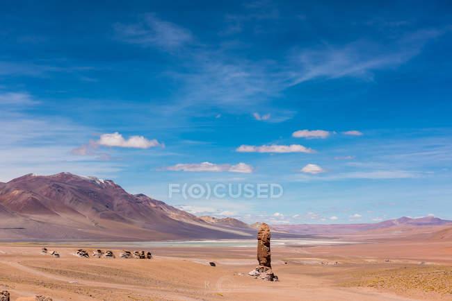 Vista cénico da formação de rocha, Paso de JAMA, San Pedro de Atacama, Antofagasta, o Chile — Fotografia de Stock