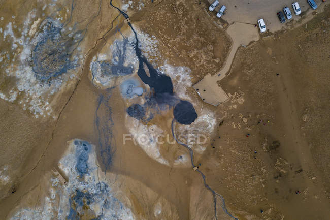Aerial view of Hoverer Geothermal Area, Northeast Iceland — Stock Photo