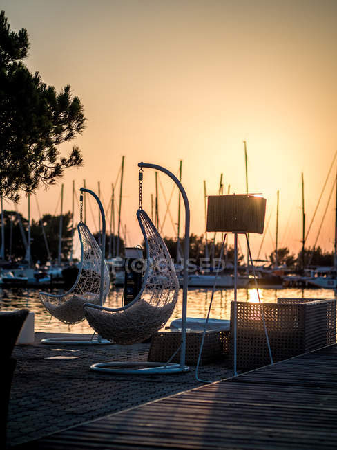 Scenic view of Marina at sunset, Greece — Stock Photo