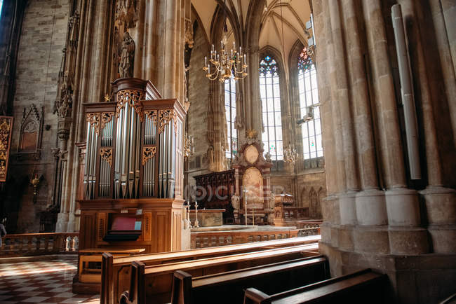 Scenic view of Organ inside St Stephens Cathedral, Vienna, Austria — Stock Photo