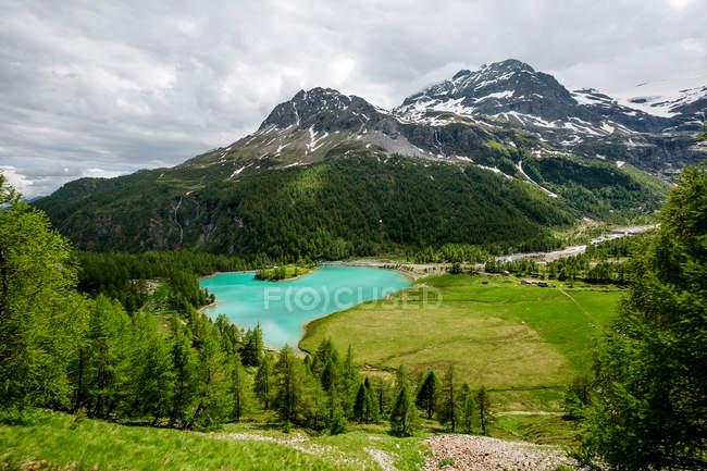 Vista panoramica del lago Palu e Bernina Alpi, Grigioni, Svizzera — Foto stock