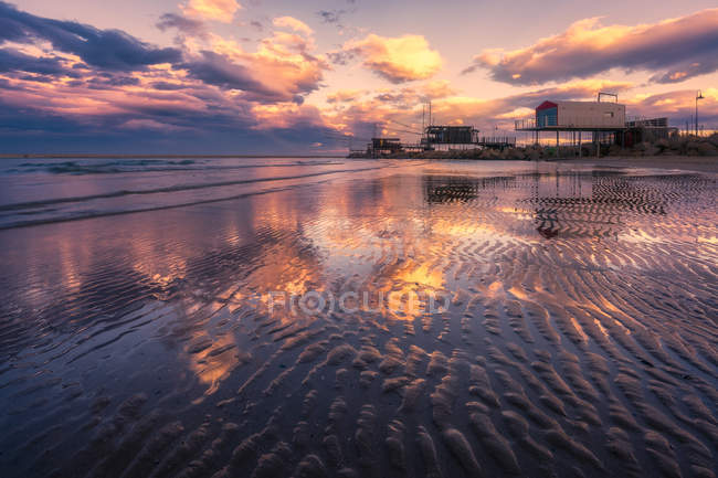 Scenic view of Trabucco at sunset, Pescara, Abruzzo, Italy — Stock Photo