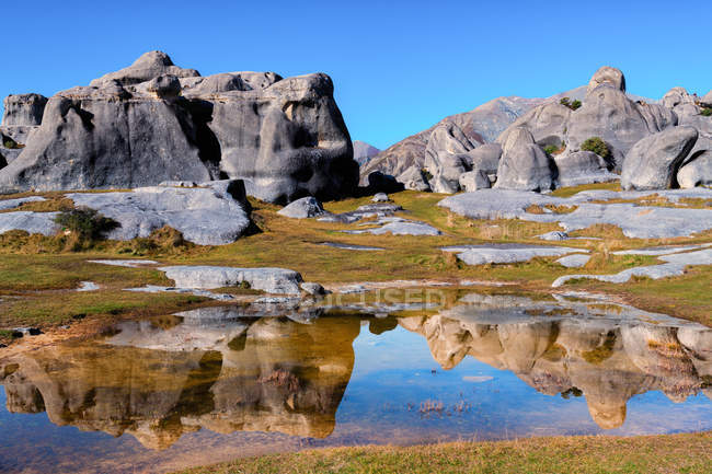 Scenic view of Rocky landscape, Castle Hill, South Island, New Zealand — Stock Photo