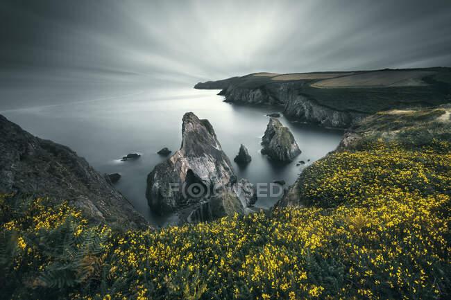 Живописный кадр красивых скал на берегу моря в облачный день — стоковое фото