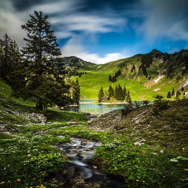 Chrindi lake landscape, Stockhorn, Bern, Switzerland — Stock Photo
