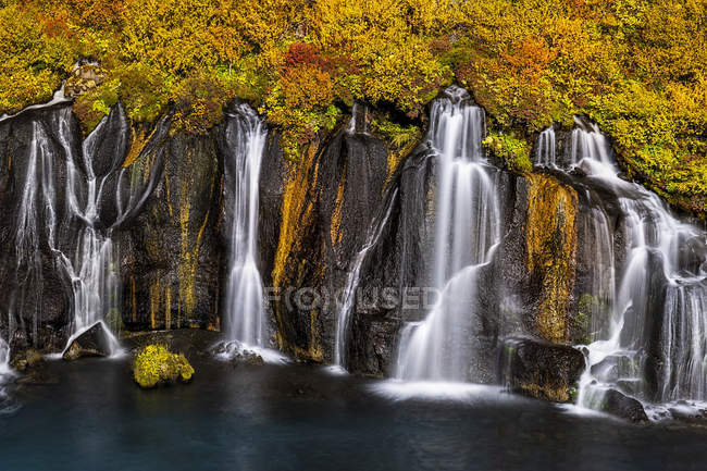 Scenic view of Hraunfossar waterfall, West Iceland — Stock Photo