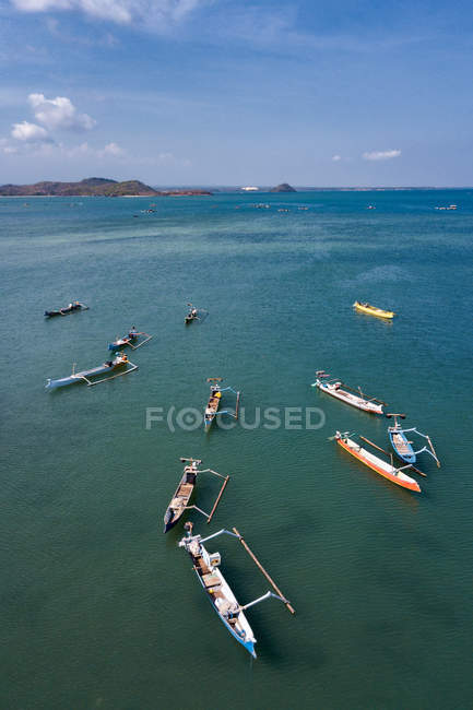 Aerial view of traditional fishing boats, Awang, Indonesia — Stock Photo
