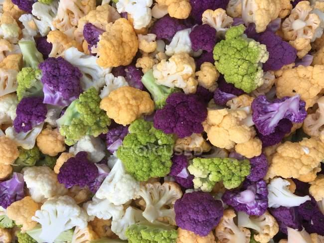 Cimette di cavolfiore multi-colored, vista del primo piano — Foto stock