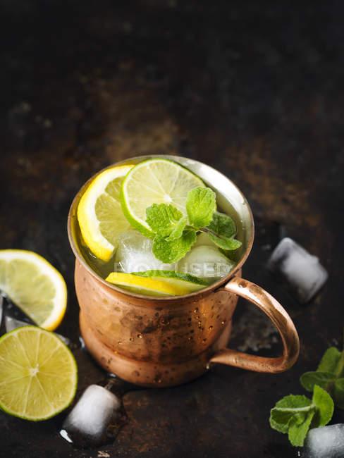 Мідь кухоль лимонад з м'ятою на темному тлі — стокове фото