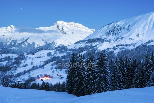 Vista panorâmica de Le Bouchet, Mont Charvin, Haute-Savoie, França — Fotografia de Stock