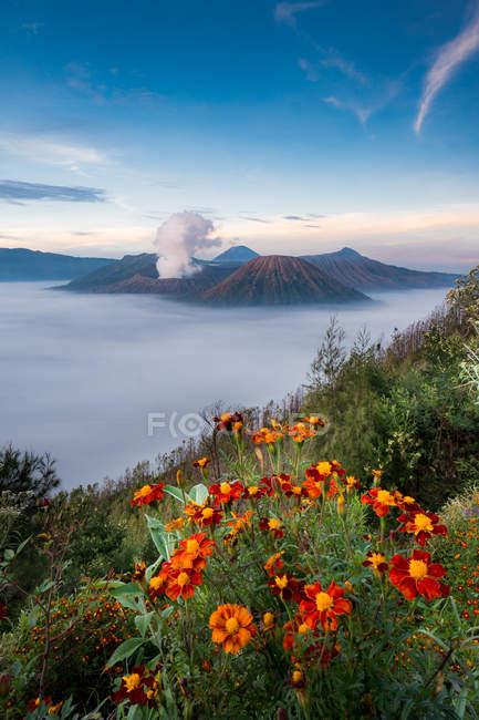 Vista panorâmica do majestoso Monte Bromo, Indonésia — Fotografia de Stock