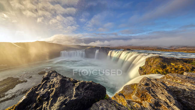 Scenic view of Sunrise at Godafoss waterfall, Bardardalur, Iceland — Stock Photo