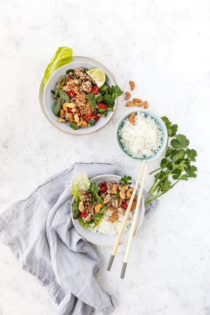 Thai Schweinefleisch Larb mit Reis, Ansicht von oben — Stockfoto