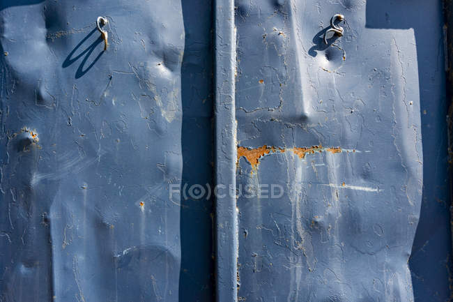 Close-Up view of Damaged Industrial Metal Container — Stock Photo