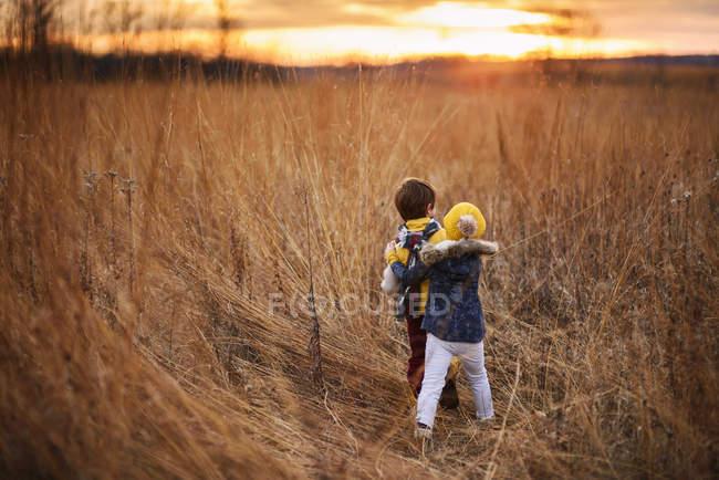 Мальчик и девочка возятся в поле на закате, США — стоковое фото