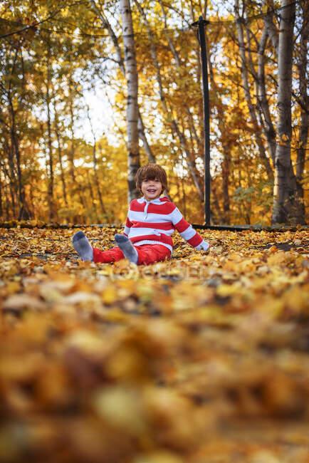 Menino sentado em um trampolim coberto em folhas de outono, Estados Unidos — Fotografia de Stock