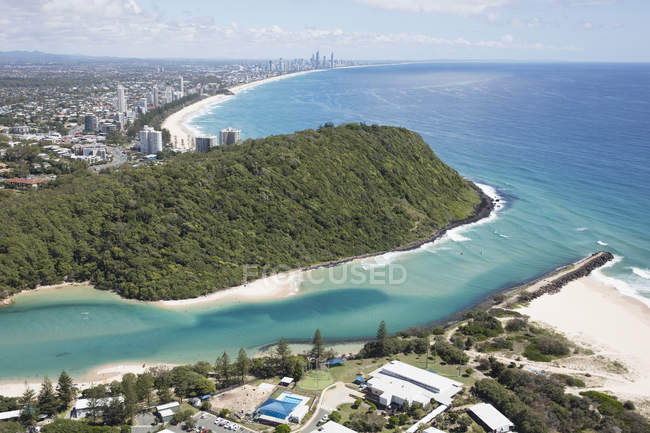 Vue aérienne de Tallebudgera Creek, Gold Coast, Queensland, Australie — Photo de stock