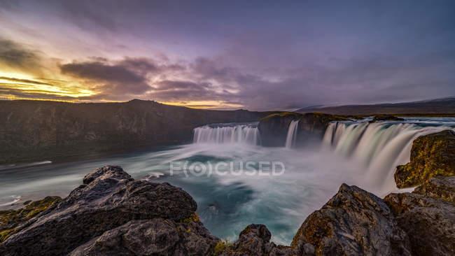 Scenic view of beautiful sunrise at Godafoss waterfall, Bardardalur, Iceland — Stock Photo