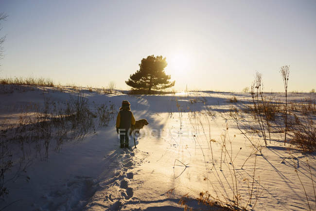 Boy walking through a field in winter snow, United States — стокове фото