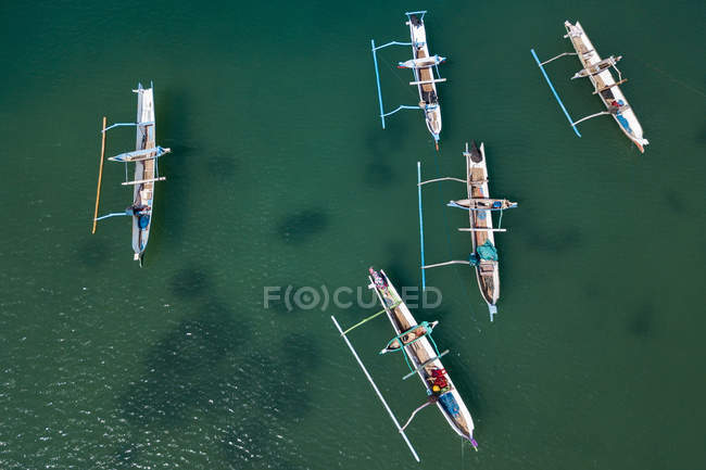 Aerial view of five traditional boats, Lombok, Indonesia — Stock Photo