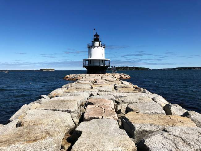 Scenic view of Spring Point Ledge Lighthouse, Portland, Maine, United States — Stock Photo