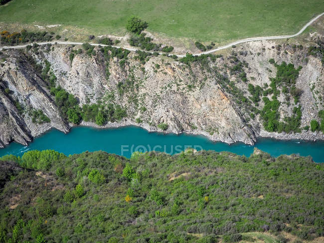 Aerial view of river landscape, Queenstown, South Island, New Zealand — Stock Photo