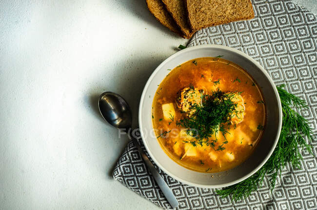 Delicious creamy soup with chicken and vegetables — Stock Photo