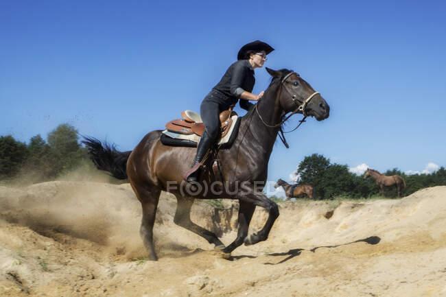 Жінка їде на полі (Польща). — стокове фото