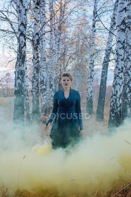 Retrato de una mujer de pie en un bosque rodeado de humo, Rusia - foto de stock