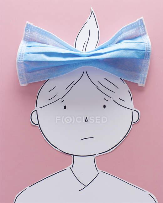 Chica conceptual con un lazo en el pelo - foto de stock