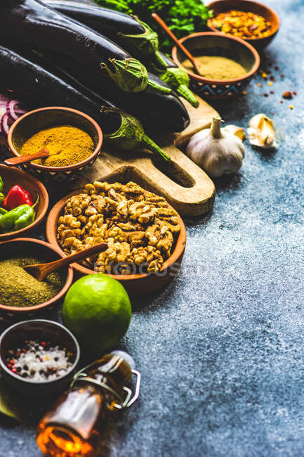 Georgian food cooking concept with spices on rustic background with copy space — Stock Photo
