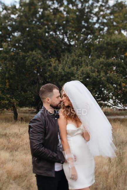 Porträt eines Brautpaares, das auf einem Feld steht, Russland — Stockfoto