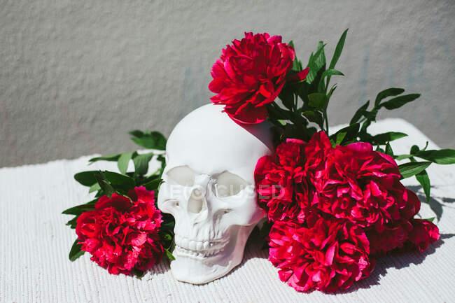Fleurs rouges à côté d'une décoration de crâne humain — Photo de stock