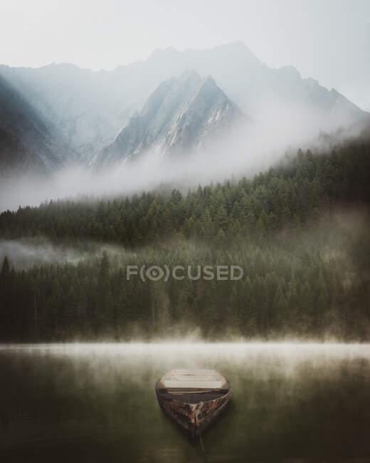 Barco de remos en un lago frente a un bosque de pinos y montañas en la niebla, Lemolo Lake, Oregon, EE.UU. - foto de stock