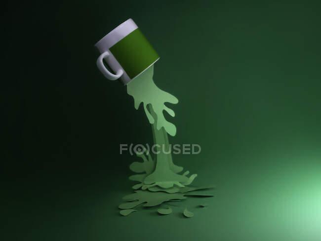 Bebida caliente conceptual saliendo de una taza - foto de stock