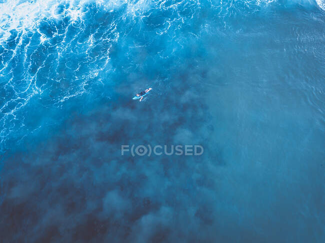 Veduta aerea di un surfista sdraiato su una tavola da surf che remava nell'oceano, Gosford, Nuovo Galles del Sud, Australia — Foto stock