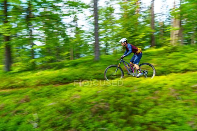 Man mountain bike attraverso la foresta, Klagenfurt, Carinzia, Austria — Foto stock