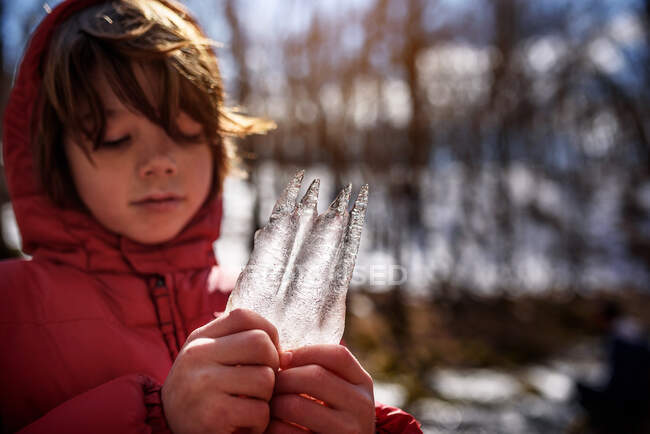 Boy standing in the forest holding a piece of frozen ice, USA — Stock Photo