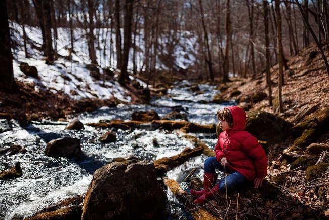Niño sentado junto a un lago congelado a principios de primavera, EE.UU. - foto de stock