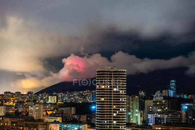 Storm clouds over city at night, Tbilisi, Georgia — Stock Photo