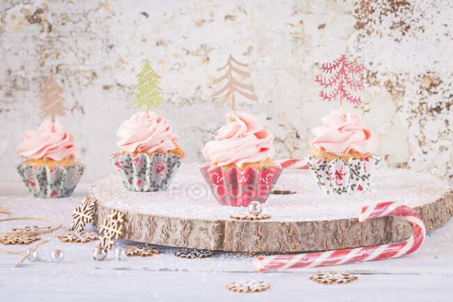Cupcakes com cobertura de creme de manteiga decorado com árvores de Natal — Fotografia de Stock